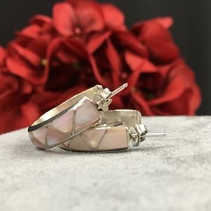Vintage Jewelry - Sterling Silver & Mother of Pearl Hoop Earrings